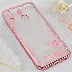 Silikonový obal s květinami a růžovým rámečkem pro Samsung Galaxy M20