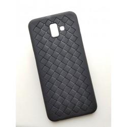 Samsung Galaxy J6+ TPU obal s imitací tkané kůže