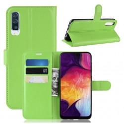 Koženkové zelené pouzdro s poutkem pro Samsung Galaxy A50