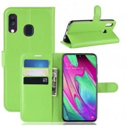 Knížkové zelené pouzdro s poutkem pro Samsung Galaxy A40