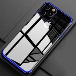 Silikonový obal s barevným rámečkem na iPhone 11 - Modrá