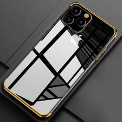 Silikonový obal s barevným rámečkem na iPhone 11 - Zlatá
