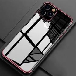 Silikonový obal s barevným rámečkem na iPhone 11 Pro - Fialová