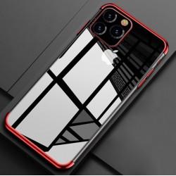 Silikonový obal s barevným rámečkem na iPhone 11 Pro Max - Červená