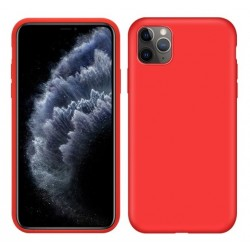 Jednobarevný gumový obal na iPhone 11 Pro - Červená