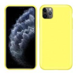 Jednobarevný gumový obal na iPhone 11 Pro - Žlutá