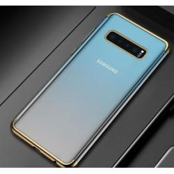 Silikonový obal s barevným rámečkem na Samsung Galaxy S10 Plus - Zlatá
