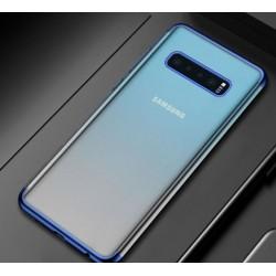 Silikonový obal s barevným rámečkem na Samsung Galaxy S10 Plus - Modrá