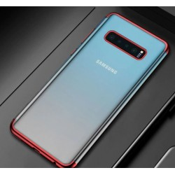 Silikonový obal s barevným rámečkem na Samsung Galaxy S10 Plus - Červená
