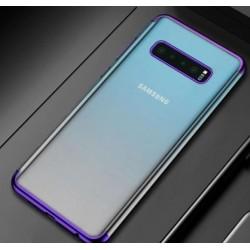 Silikonový obal s barevným rámečkem na Samsung Galaxy S10 Plus - Fialová
