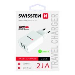 SWISSTEN síťový adapér IC 2x USB 2,1A - Bílá