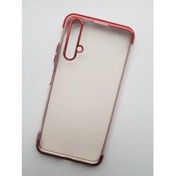 Silikonový obal s barevným rámečkem na Huawei Nova 5T - Červená