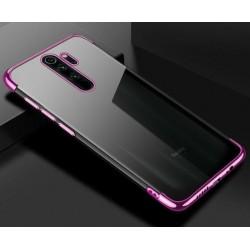 Silikonový obal s barevným rámečkem na Xiaomi Redmi Note 8 Pro - Fialová