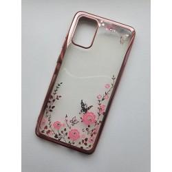 Silikonový obal s květinkami a růžovým rámečkem pro Samsung Galaxy S20+