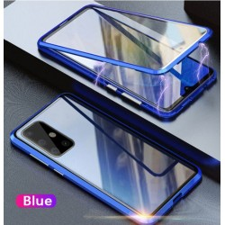 Magnetický kryt s tvrzeným sklem na Samsung Galaxy Note 10 Lite - Modrá