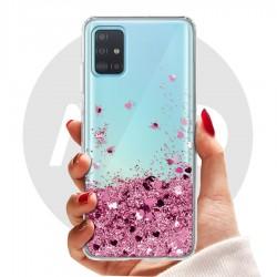 Obal na Samsung Galaxy A71 | Přesýpací kryt se srdíčky