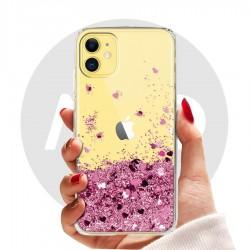 Obal na iPhone 11 | Přesýpací kryt se srdíčky