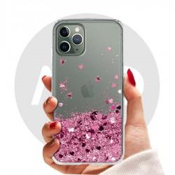Obal na iPhone 11 Pro | Přesýpací kryt se srdíčky