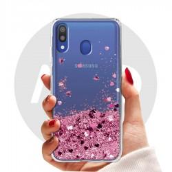 Obal na Samsung Galaxy M20 | Přesýpací kryt se srdíčky
