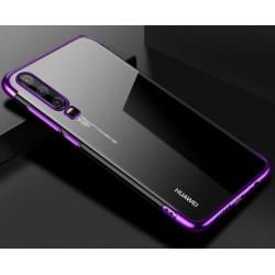 TPU obal na Honor 9X Pro s barevným rámečkem - Fialová