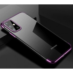 TPU obal na Samsung Galaxy M11 s barevným rámečkem - Fialová