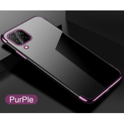 TPU obal na Samsung Galaxy A12 s barevným rámečkem - Fialová