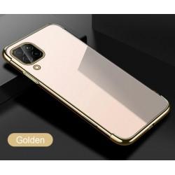 TPU obal na Samsung Galaxy A12 s barevným rámečkem - Zlatá