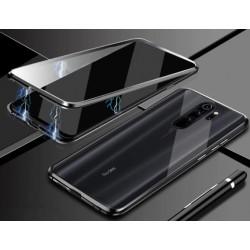 Magnetický kryt s tvrzenými skly na Xiaomi Redmi 9 - Černá