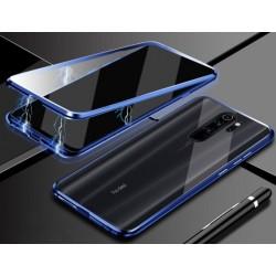 Magnetický kryt s tvrzenými skly na Xiaomi Redmi 9 - Modrá