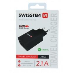 SWISSTEN síťový adapér IC 2x USB 2,1A - Černá