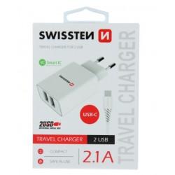 SWISSTEN síťový adapér IC 2x USB 2,1A + DATOVÝ KABEL USB / TYPE C 1,2 M - Bílá
