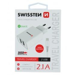SWISSTEN síťový adapér IC 2x USB 2,1A + DATOVÝ KABEL USB / LIGHTNING 1,2 M - Bílá
