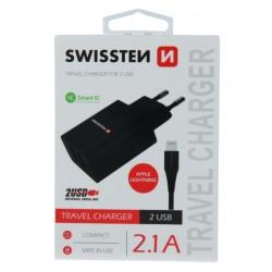 SWISSTEN síťový adapér IC 2x USB 2,1A + DATOVÝ KABEL USB / LIGHTNING 1,2 M - Černá