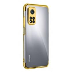 TPU obal na Samsung Galaxy S21 Ultra 5G s barevným rámečkem - Zlatá
