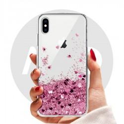 Obal na iPhone X | Přesýpací kryt se srdíčky