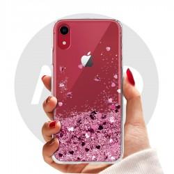 Obal na iPhone Xr   Přesýpací kryt se srdíčky