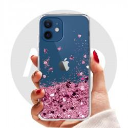 Obal na iPhone 12   Přesýpací kryt se srdíčky