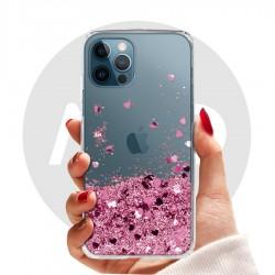 Obal na iPhone 12 Pro | Přesýpací kryt se srdíčky