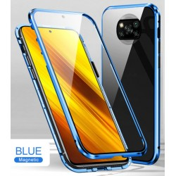Magnetický kryt  360° s tvrzenými skly na Xiaomi POCO X3 NFC - Modrá
