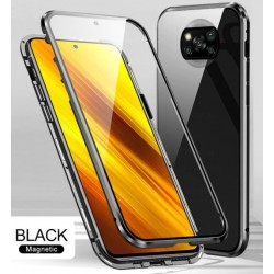Magnetický kryt  360° s tvrzenými skly na Xiaomi POCO X3 NFC - Černá