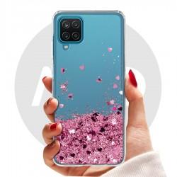 Obal na Samsung Galaxy A12   Přesýpací kryt se srdíčky