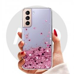 Obal na Samsung Galaxy S21 5G | Přesýpací kryt se srdíčky
