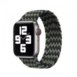 Pletený nylonový řemínek navlékací pro Apple Watch 42/44mm - Černo-zelená