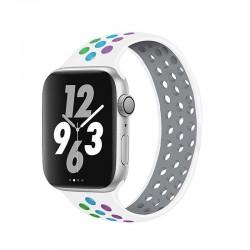 Silikonový sportovní řemínek navlékací pro Apple Watch 38/40mm - Bílo-barevná