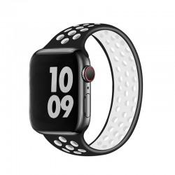 Silikonový sportovní řemínek navlékací pro Apple Watch 42/44mm - Černo-bílá