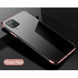 TPU obal na Samsung Galaxy M12 s barevným rámečkem - Růžová
