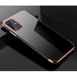 TPU obal na Samsung Galaxy A72 s barevným rámečkem - Růžová