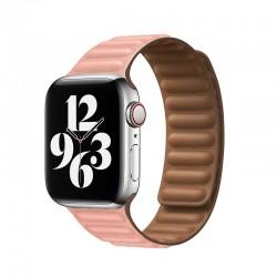 Kožený článkový řemínek magnetický pro Apple Watch 38/40mm - Růžová