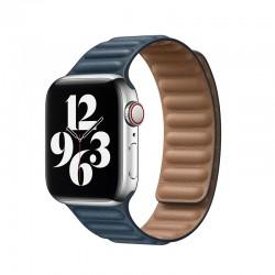 Kožený článkový řemínek magnetický pro Apple Watch 42/44mm - Modrá