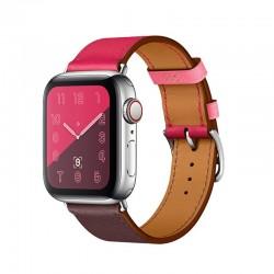 Stylový kožený řemínek s klasickou sponou pro Apple Watch 38/40mm - Růžovo-vínová